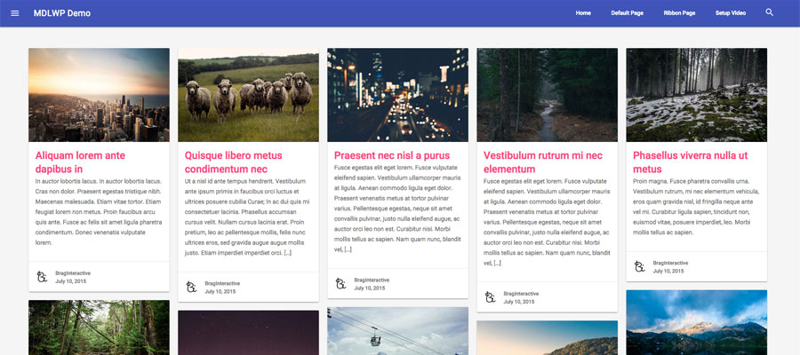Material Design Masonry Layout